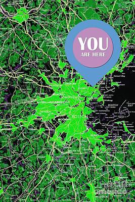 Boston Massachusetts 1948 Green Map You Are Here Art Print by Pablo Franchi