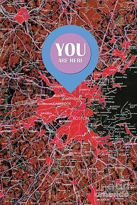 Map Of The World Mixed Media - Boston Massachusetts 1948 Red Old Map You Are Here by Pablo Franchi