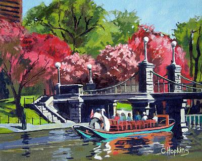 Boston Landmark Painting - Boston Public Gardens Boston Massachusetts by Christine Hopkins