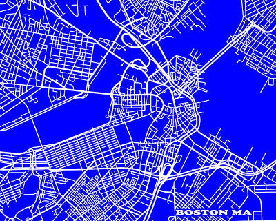 Boston Massachusetts City Map Streets Art Print   Art Print by Keith Webber Jr
