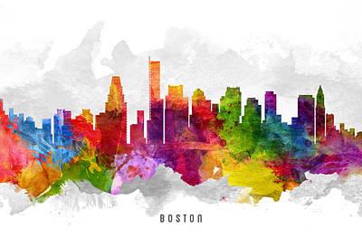Boston Massachusetts Cityscape 13 Print by Aged Pixel