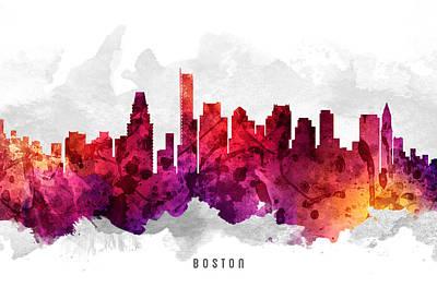 Towns Digital Art - Boston Massachusetts Cityscape 14 by Aged Pixel