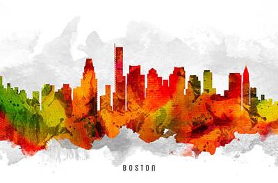 Boston City Painting - Boston Massachusetts Cityscape 15 by Aged Pixel