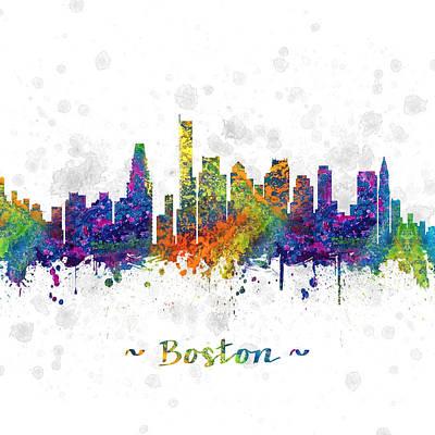 Massachusetts Drawing - Boston Massachusetts Color 03sq by Aged Pixel