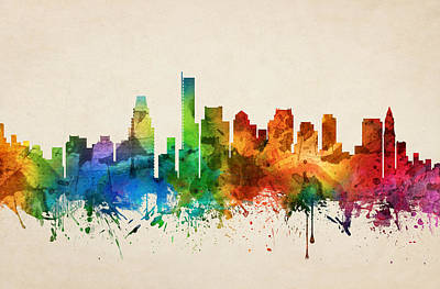 Boston Painting - Boston Massachusetts Skyline 05 by Aged Pixel