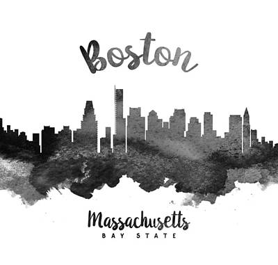 Boston Painting - Boston Massachusetts Skyline 18 by Aged Pixel