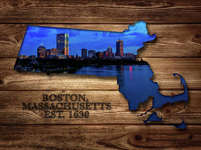 Boston Massachusetts State Map Art Print