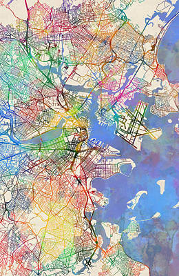 Digital Art - Boston Massachusetts Street Map Extended View by Michael Tompsett