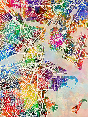 Urban Street Digital Art - Boston Massachusetts Street Map by Michael Tompsett