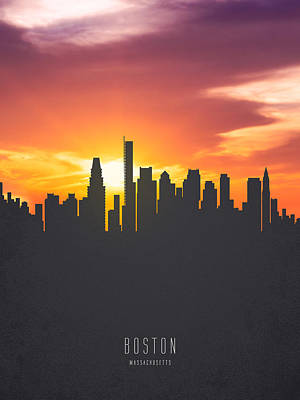 Boston Painting - Boston Massachusetts Sunset Skyline 01 by Aged Pixel