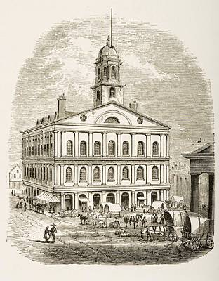Liberty Place Drawing - Boston Massachusetts,faneuil Hall In by Vintage Design Pics