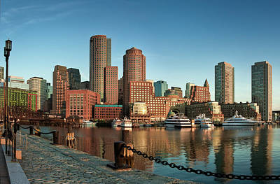 Consumerproduct Photograph - Boston Morning Skyline by Sebastian Schlueter (sibbiblue)