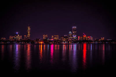 Photograph - Boston Night Reflections by Lilia D