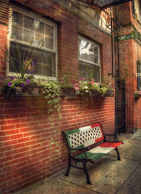 Photograph - Boston North End Charm - Benches by Joann Vitali