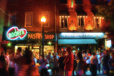 Photograph - Boston North End Nights Modern Pastry - Hanover Street by Joann Vitali