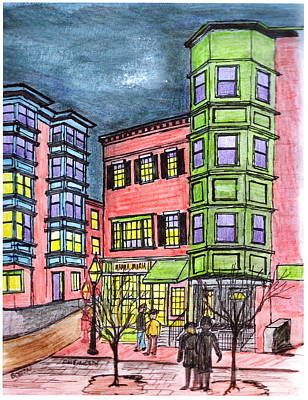 Drawing - Boston Northend by Paul Meinerth