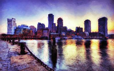 Painting - Boston, Panorama - 01 by Andrea Mazzocchetti