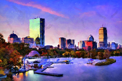 Painting - Boston, Panorama - 03 by Andrea Mazzocchetti