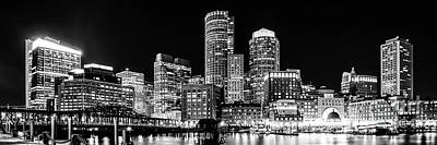 Boston Skyline Photograph - Boston Panorama Cityscape Black And White Photo  by Paul Velgos