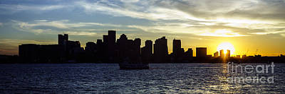 Boston Skyline Panoramic Photograph - Boston Panoramic Skyline Sunset Picture by Paul Velgos