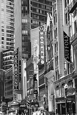 Photograph - Boston Paramount Washington St Boston Ma Black And White by Toby McGuire