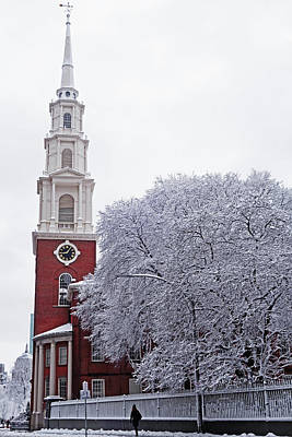 Photograph - Boston Park Street Church Tremont Street Granary Cememtery Boston Common by Toby McGuire
