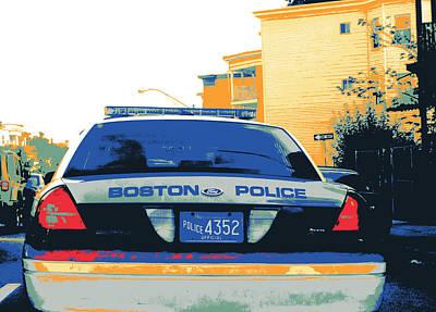 Bpd Mixed Media - Boston Police Cruiser by Shay Culligan