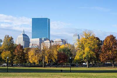 Photograph - Boston Public Garden Autumn Hancock Prudential Skyline by Toby McGuire