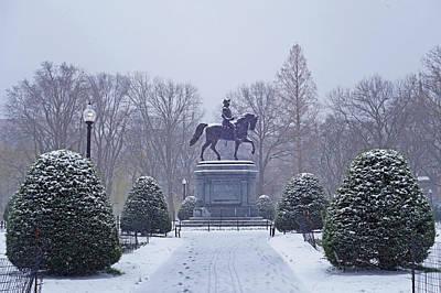 Photograph - Boston Public Garden Boston Ma Winter Snow by Toby McGuire