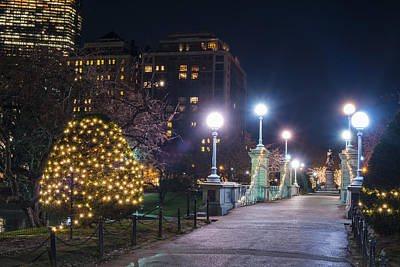 Photograph - Boston Public Garden Bridge Christmas Lights Hancock by Toby McGuire