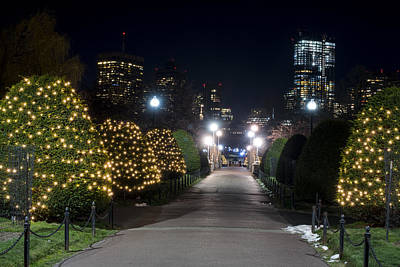 Photograph - Boston Public Garden Bridge Christmas Lights by Toby McGuire