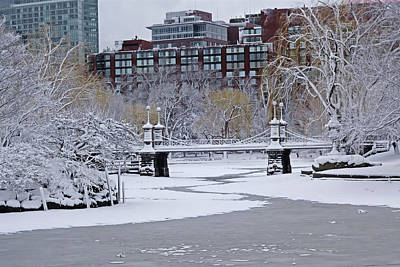 Photograph - Boston Public Garden Bridge Covered In Snow by Toby McGuire