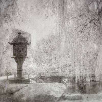 Photograph - Boston Public Garden Japanese Lantern - Black And White by Joann Vitali