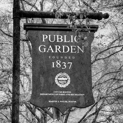 Photograph - Boston Public Garden Sign Black And White by Joann Vitali