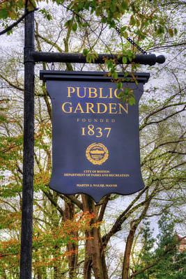 Photograph - Boston Public Garden Sign by Joann Vitali