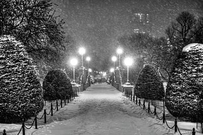 Photograph - Boston Public Garden Snow Storm Ma Massachusetts Bridge Lights Black And White by Toby McGuire