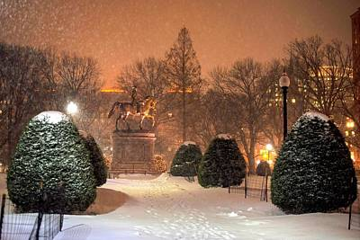 Photograph - Boston Public Garden Snow Storm Ma Massachusetts Bridge Lights George Washington Statue by Toby McGuire