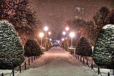 Photograph - Boston Public Garden Snow Storm Ma Massachusetts Bridge Lights by Toby McGuire