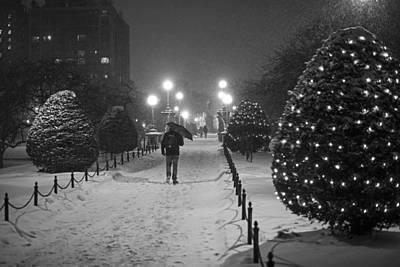 Photograph - Boston Public Garden Snow Storm Ma Massachusetts Bridge Lights Umbrella Black And White by Toby McGuire