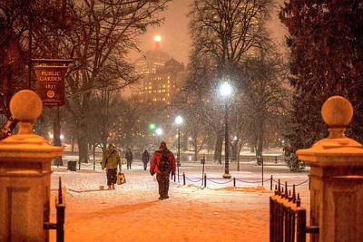 Photograph - Boston Public Garden Snow Storm Ma Massachusetts Entrance Gate by Toby McGuire