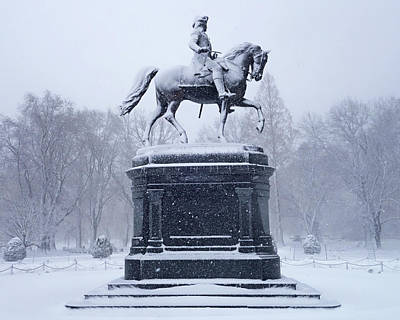 Photograph - Boston Public Garden Statue Covered In Snow Boston Ma by Toby McGuire