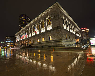 Photograph - Boston Public Library Rainy Night Boston Ma by Toby McGuire
