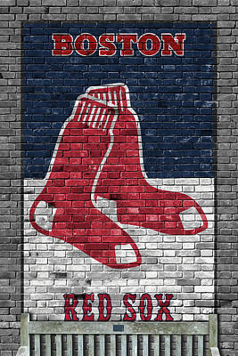 Galaxies Painting - Boston Red Sox Brick Wall by Joe Hamilton