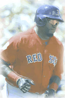 Uniform Digital Art - Boston Red Sox David Ortiz 2 by Joe Hamilton