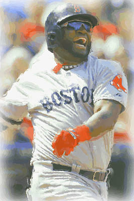 Uniform Digital Art - Boston Red Sox David Ortiz 3 by Joe Hamilton