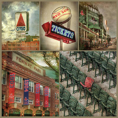 Photograph - Boston Red Sox Fenway Park Collage by Joann Vitali