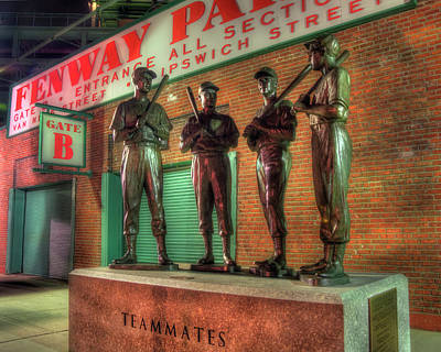 Photograph - Boston Red Sox Teammates Statue - Fenway Park by Joann Vitali