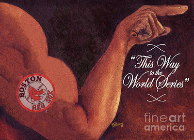 Oklahoma University Wall Art - Painting - Boston Red Sox. This Way To The World Series by Jean-Marie Poisson