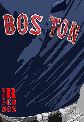 Nike Painting - Boston Red Sox Typography Blue by Pablo Franchi