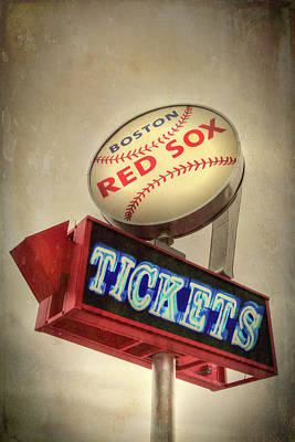 Red Sox Tickets Photograph - Boston Red Sox Vintage Baseball Sign by Joann Vitali